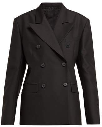 Maison Margiela Double Breasted Wool And Silk Blazer - Womens - Black