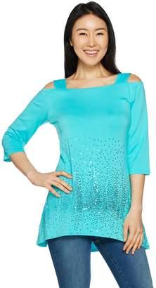 Belle By Kim Gravel Belle by Kim Gravel Sequin Cold Shoulder Knit Tunic