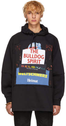Vetements Black The Bulldog Spirit Patchwork Hoodie