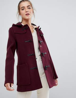 Gloverall slim mid length duffle coat in wool blend