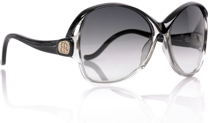 Balenciaga Two-tone round acetate sunglasses