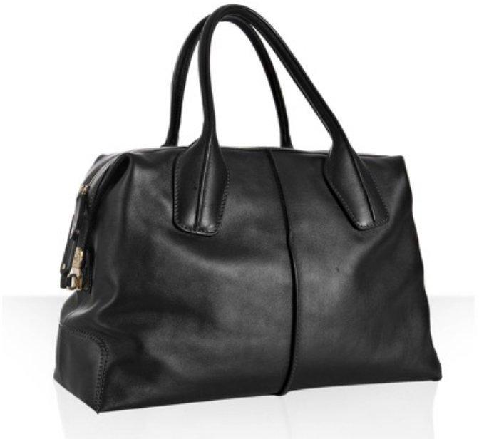 Tod's black leather 'D-bag' medium boston bag
