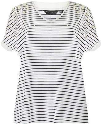 Dorothy Perkins Womens **DP Curve Navy Stripe Pearl Detail T-Shirt