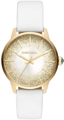 Diesel Castilla White Leather Strap Sunray Glitter Effect Dial Ladies Watch