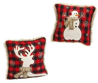 Gerson Company Red and Black Plaid Holiday Throw Pillows with Fur (Set of 2)