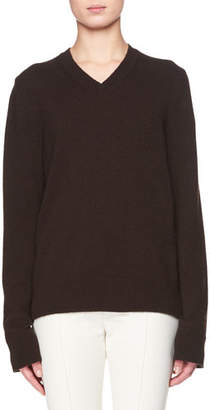 The Row Monica V-Neck Long-Sleeve Cashmere Top