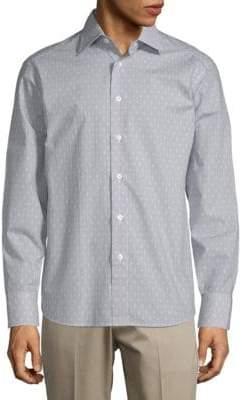 Brioni Printed Cotton Button-Down Shirt