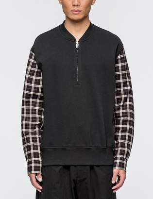 3.1 Phillip Lim Henley Sweatshirt with Flannel Over Sleeve