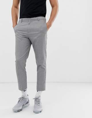 slim fit cropped trousers in puppytooth