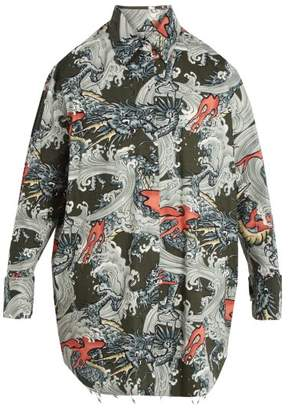 Marques'almeida - Oversized Dragon Print Cotton Shirt - Mens - Multi