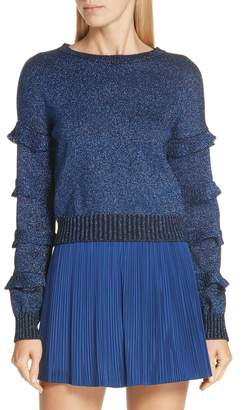 RED Valentino Ruffle Sleeve Metallic Wool Blend Sweater