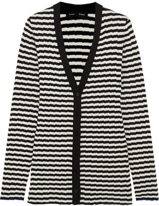 Proenza Schouler - Striped Ribbed Silk And Cashmere-blend Cardigan - Black $620 thestylecure.com