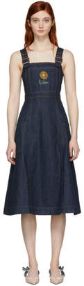 ALEXACHUNG Indigo Midi Apron Dress