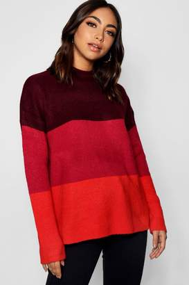 boohoo Colour Block Jumper With Funnel Neck
