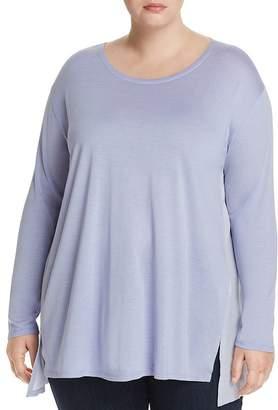 Eileen Fisher Plus Color-Block Silk Tunic Top