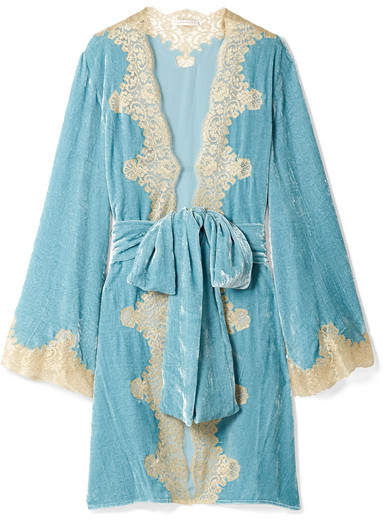 Rosamosario - Bellezza D'amare Lace-trimmed Velvet Robe - Light blue