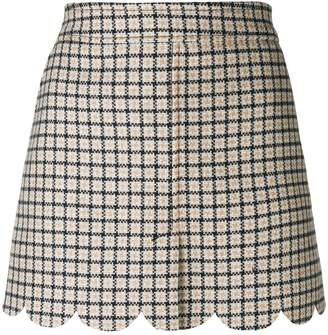 RED Valentino scalloped checked mini skirt