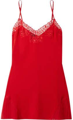 La Perla Quartz Garden Lace-trimmed Stretch-silk Chiffon Chemise - Crimson