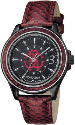 Roberto Cavalli By Franck Muller 37mm Black Stainless Steel Watch w/ Calfskin Leather Strap