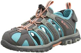 Hi-Tec Girls' Cove Junior Hiking Sandals, Grey (Cool Grey/Curacao Blue/Papaya Punch 055)