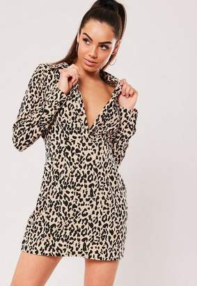 Missguided Nude Leopard Print Shirt Dress