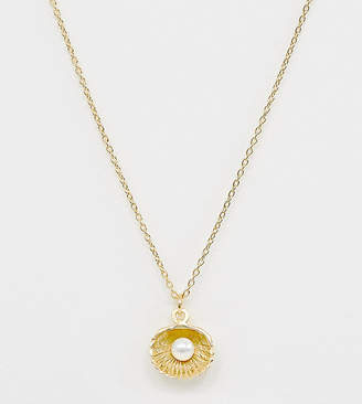 Asos Design DESIGN sterling silver in gold plate necklace with pearl and shell