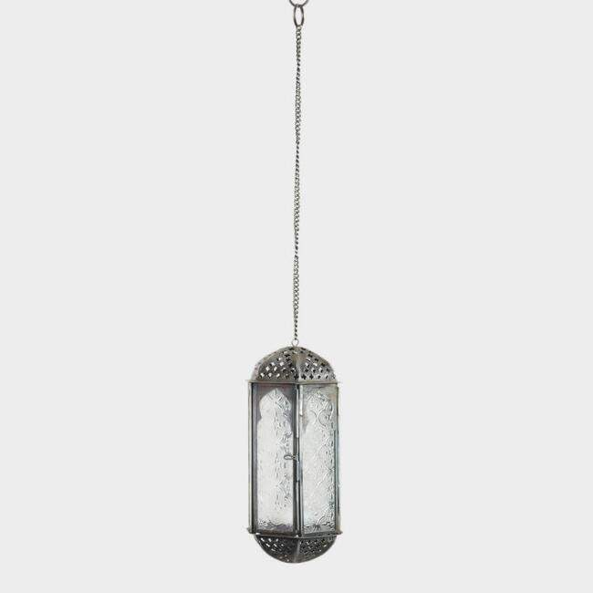 Clear Embossed Glass Hanging Lantern