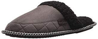 Dearfoams Men's Microsuede Quilted Closed Toe Scuff Slipper - Padded Slip-Ons with Memory Foam Insole and Rubber Sole