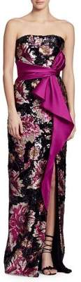 Marchesa Strapless Sequin Belted Column Gown
