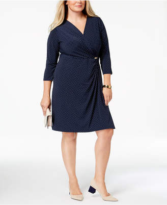 Charter Club Plus Size Dot-Print Faux Wrap Dress