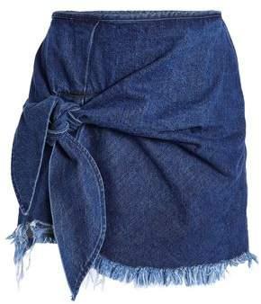 Marques Almeida Marques' Almeida Knotted Frayed Denim Mini Skirt