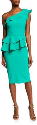 Chiara Boni Ruffled One-Shoulder Asymmetric Peplum Cocktail Dress