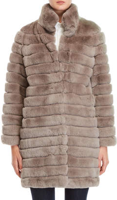 Yves Salomon Meteo By Grey Quilted Real Fur Coat
