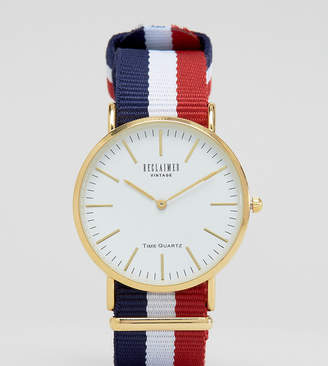 Reclaimed Vintage Inspired stripe canvas watch with white dial exclusive to ASOS