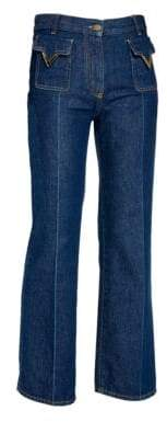 Valentino V Logo Patch Wide-Leg Jeans