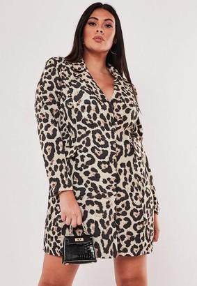 Missguided Plus Size Brown Leopard Print Blazer Dress, Brown