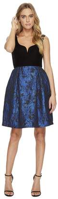 Donna Morgan Sleeveless Fit and Flare with Velvet Top and Brocade Skirt Women's Dress
