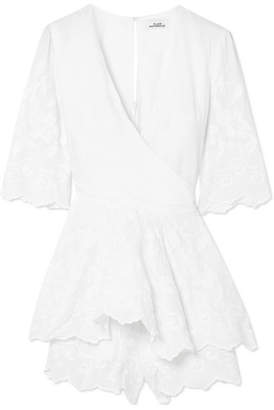 Place Nationale - Saint-hilaire Embroidered Cotton Wrap Playsuit - White