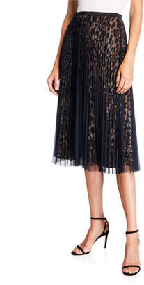 Loyd/Ford Layered Animal-Print Mesh Midi Skirt