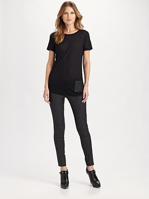 Leather Accented T-Shirt