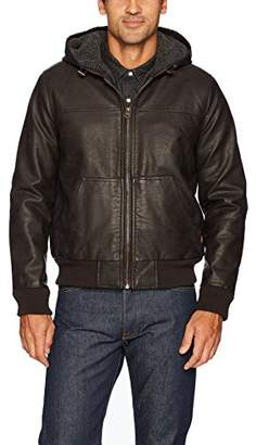 Levi's Men's Buffed Cow Faux Leather Hoody Bomber