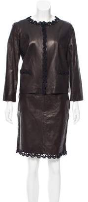 Chanel Leather Knee-Length Skirt Suit