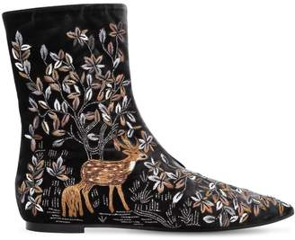 Alberta Ferretti 5mm Embroidered Velvet Ankle Boots