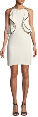 Halston Ruffle-Front Halter Mini Cocktail Dress
