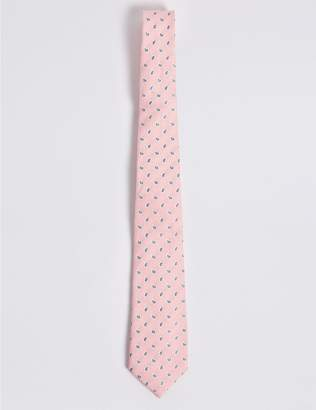 Marks and Spencer Silk with Linen Paisley Foulard Tie