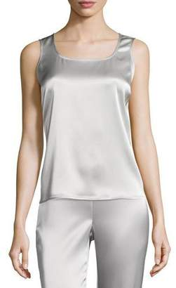 St. John Liquid Satin Scoop-Neck Tank, Platinum