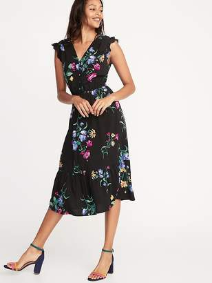 8ea003c8a7407 Old Navy Waist-Defined Flutter-Sleeve Midi for Women