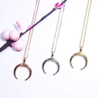 Linnet Jewellery Plain Horn Half Moon Necklace 925 Silver Rose Gold