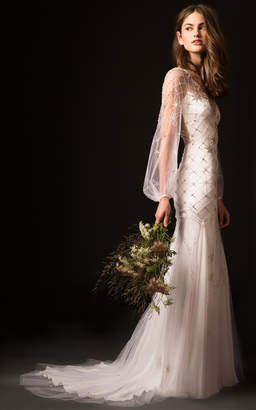 Temperley London Bridal Celeste Gown with Embroidered Bodice and Long Sleeves