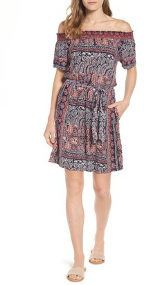 Women's Lucky Brand Off The Shoulder Print Knit Dress $99 thestylecure.com